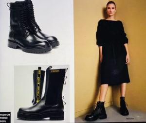 Ein schlichtes schwarzes Kleid in Kombination mit derben Chelseaboots ist ein besonders lässiger Look.